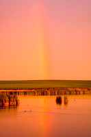 Rainbow Reflection at Sunset - North Dakota Marsh