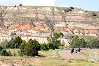 Bikers and curves in the Theodore Roosevelt National Park, North Dakota