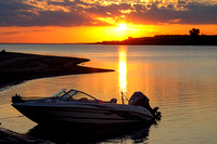 Boat at sunset, Lake Sakakawea, North Dakota-2
