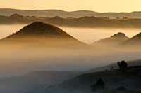 Fog in the badlands at daybreak - Theodore Roosevelt National Park
