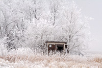 Abandoned Building on a Frosty Morning, North Dakota