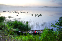 Canoe on a Foggy Marsh at Dawn, Kenai Peninsula, Alaska