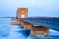 Moon over Garrison Dam Intake Structure, North Dakota