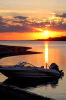 Boat at sunset, Lake Sakakawea, North Dakota