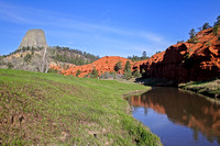 Landscape View of Belle Fourche River and Devils Tower National Monument, Wyoming-11