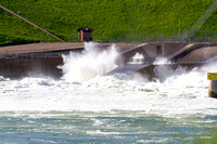 Floodgates open at the Garrison Dam Tailrace, North Dakota, June 2011-2