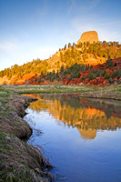 Landscape View of Belle Fourche River and Devils Tower National Monument, Wyoming