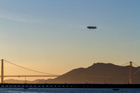 Blimp over the Golden Gate Bridge at Dusk, San Francisco California