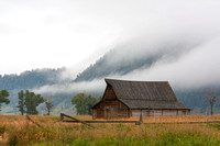 Morman Barn and Fog, Grand Teton National Park, Wyoming
